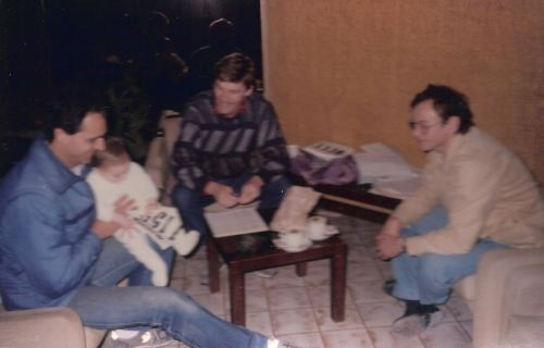 John Walsh (center) at the registration of the first Malta Marathon in 1986. John is seen with Peter Borg Costanzi to his left and Edwin Attard one of the 4 remaining active co-founders of the Malta Marathon.