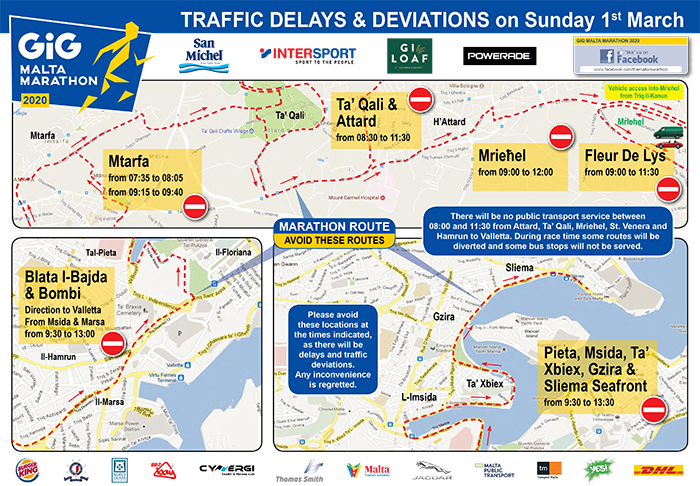 2020 Malta Marathon Traffic Deviations